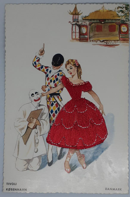 Woman in red dress with Pierrot Harlequin - embroidered
