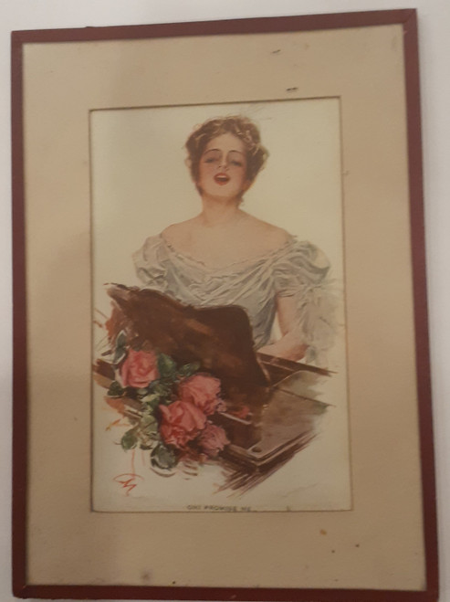 Oh! Promise Me - woman playing piano with flowers, Harrison Fisher - Framed
