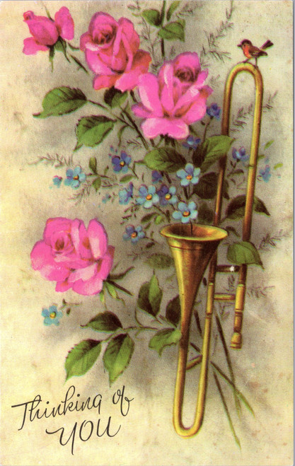 Thinking of You - trombone, roses, bird, forget-me-not