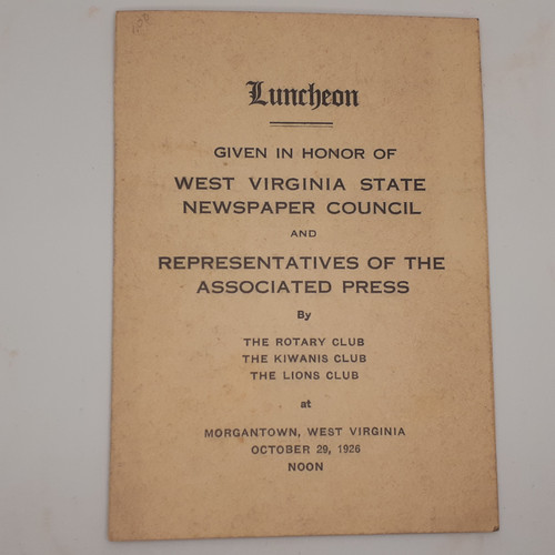 Program and Menu 1926 Honorary Lunch WV Newspaper Council and AP - Morgantown, West Virginia