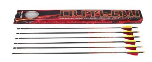 "Black Eagle Outlaw 3"" Feather Fletched Arrows 6 PAK"