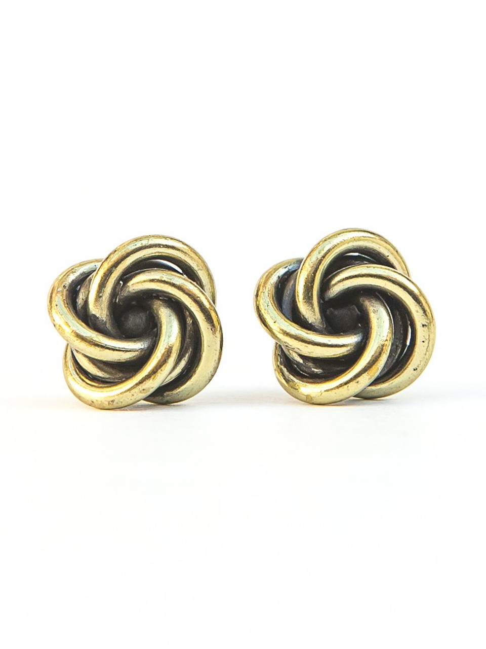 Details about  /Gold Knot Earrings Knot Stud Earrings Yellow Gold Studs