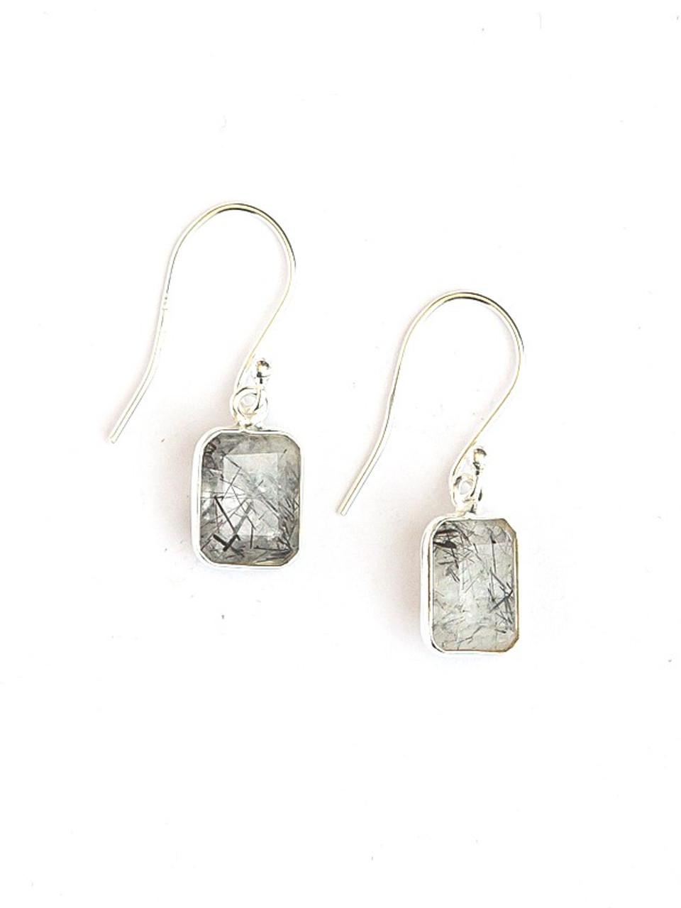 925 Sterling Silver Red Rutile Earrings