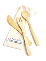 Sustainable utensil set, fork knife and spoon in reusable pouch | Fair Anita