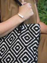 simple cuff with brushed silver metal brick | Fair Anita