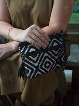 black and white clutch with handle | Fair Anita
