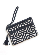 black and white clutch with handle   Fair Anita