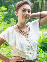 black seed beads and brass pipe necklace | Fair Anita