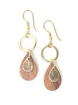 Wooden Teardrop Dangle Earrings - Brass