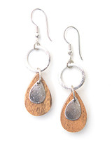 Wooden Teardrop Dangle Earrings - Silver