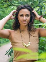 earthy ceramic beaded hoop earrings | Fair Anita