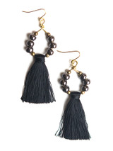 black tassel hoop earrings | Fair Anita