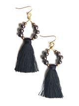 black tassel hoop earrings | Fair Anita