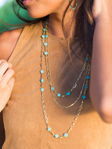 turquoise clay multistrand string necklace | Fair Anita