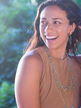 big teal wrap hoop earrings | Fair Anita