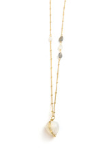 moonstone and labradorite gold chain necklace | Fair Anita