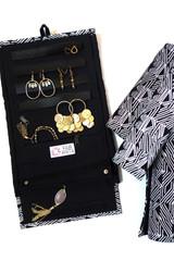 Wayfarer Jewelry Roll Travel Case - Black Matchstick