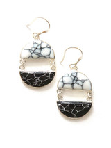 Black and White half moon earrings | Fair Anita