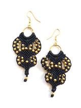 Gold Bead And Macrame Earrings | Fair Anita