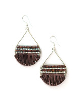 leather wrap silver teardrop earring | Fair Antia
