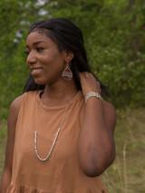 leather wrap silver teardrop earring | Fair Antia