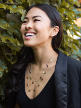 beaded garnet and brass double strand necklace | Fair Anita