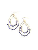 blue open teardrop sparkle earrings silver | Fair Anita