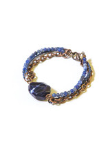 blue bead and Copper multi strand Bracelet | Fair Anita