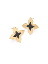 brass and black wildflower studs | Fair Anita