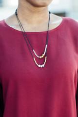 Mixed metal adjustable cord necklace | Fair Anita