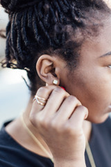 Square aqua stone stud earrings | Fair Anita