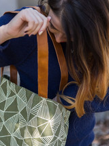 Green and white patterned tote bag | Fair Anita