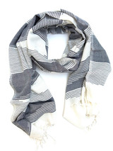Blue and white fair trade scarf | Fair Anita