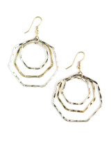 Mixed metal hexagon shaped earrings | Fair Anita