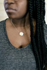 Short hexagon blue necklace | Fair Anita
