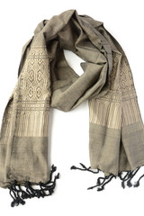 Grey patterned fair trade scarf | Fair Anita