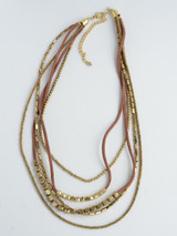 Adjustable suede and brass necklace   Fair Anita