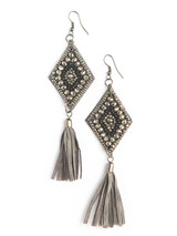 Large black beaded earrings with tassel | Fair Anita