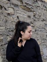 Black and white hexagon stud earrings | Fair Anita