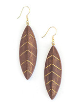 Wood and brass leaf dangle earrings | Fair Anita