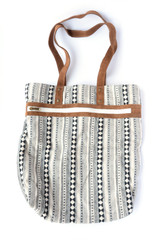 White pattern with black stripes tote | Fair Anita