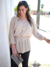 Long fair trade gold necklace with fringe | Fair Anita