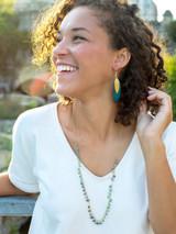 Teal painted brass earrings | Fair Anita