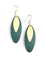 Teal painted brass earrings | Fair Anita