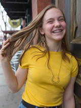 Big brass dangle earrings | Fair Anita