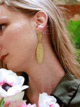 deco hammered earring brass | Fair Anita
