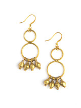 recycled bullet casing chandelier earrings gold  | Fair Anita