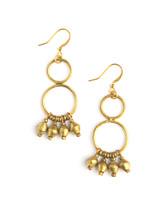 recycled bullet casing chandelier earrings gold  | Fair Anita