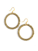 Artillery gold wrapped bead hoop earrings | Fair Anita