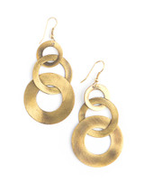 Circle dangle loop earrings in brushed brass | Fair Anita